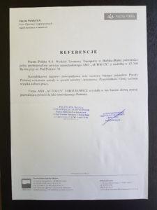 Referencje od Poczty Polskiej potwierdzające zadowolenie z likwidacji szkody w ASO Autolux