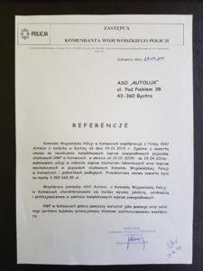 List referencyjny polecający od KWP Katowice, polecający ASO Autolux jako sprawdzonego partnera w biznesie. Tekst listu powyżej.